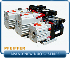 New Pfeiffer DUO C Series Rotary Vane Vacuum Pumps - Corrosive Series PFPE Oil