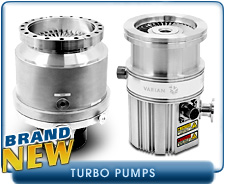 New Turbo Pumps - Alcatel, Edwards, Leybold, Pfeiffer, Varian