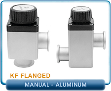 Varian Right Angle or Offset In-Line Hand Operated Manual Aluminum Block Bellows Valve