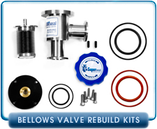 Viton, Buna, Silicon Major or Minor Rebuild Kit for KF-16, KF-25, KF-40, KF-50, 0.75, 1.00, 1.50, 2.00 Inch Tube, Conflat 1.33, 2.125, 2.75, 3.37 Angle & Inline