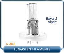 Ideal Vacuum Flange-Less Nude Bayard Alpert Vacuum Gauge, Dual Tungsten Filament, Hot Cathode, WO/ Vacuum Flange