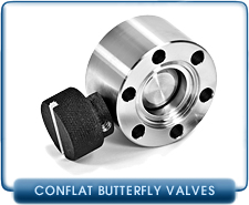 Butterfly Valve, Manual, 1.33 in, CF-F Conflat, Vacuum Fittings, 1-1/3 to 3-3/8 in, Stainless Steel