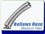 Bellows Hose Metal KF-16, Medium Wall Tubing, ISO-KF Flange Size NW-16, Stainless Steel