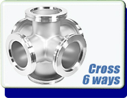 Cross 6-Way, NW-63 to 160 Vacuum Fitting, ISO-LF Large Flange Size NW-63, Stainless Steel