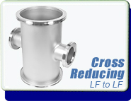 Adaptive Reducing Cross ISO-80-160 to NW-63-100, ISO MF Interface, LF80 to LF63, Stainless Steel