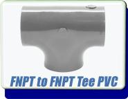 Adapter Plastic TEE, 1/2-1 inch FNPT, polyvinyl Chloride PVC