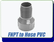 Adapter Plastic, ID Rubber Hose Barb. FNPT, Polyvinyl Chloride PVC Plastic