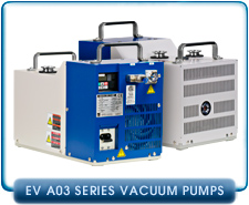 Ebara EV-A03 Air Cooled Dry Vacuum Pump 115VAC or 200-240VAC, 1 or 3-Phase, 9cfm, Gas Ballast Port