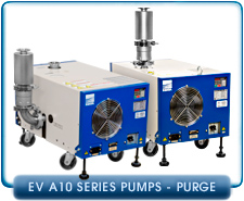 Ebara EV-A10-2U-P Air Cooled Dry Vacuum Pump 1-Phase or 3-phase, 200-240VAC, 36cfm, Side or Upper Exhaust.