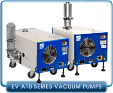 Ebara EV-A10-2U Air Cooled Dry Vacuum Pump 1-Phase or 3-phase, 200-240VAC, 36cfm, Side or Upper Exhaust