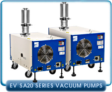 Ebara EV-SA20-2 Air Cooled Dry Vacuum Pump 1-Phase or 3-Phase 200-240 VAC, 59 cfm, Upper Exhaust.
