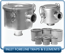 Non OEM Foreline Inlet Filters, Traps,  And Replacement Media Cartridges For 0 to 80 CFM Vacuum Pumps