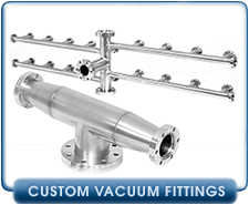 Custom Conflat Vacuum Manifold System, 12 each by 4 runs of 1-1/3 Conflat, 3 each 2-3/4 Conflat, ExTorr RGA Manifold Kit, Conflat Adaptive CF Tee 4.5 Inch to 2.75 Inch CFF Reducer Tee.