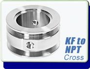 Adapter KF-16, KF-25, KF-40 or KF-50 to Double 1/8 or 1/4 in. NPT-Female, Flange Size ISO-KF NW-16, NW-25, NW-40, NW-50, Stainless Steel