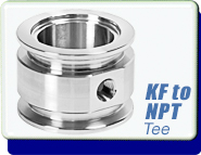 Adapter KF-16, KF-25, KF-40, KF-50 to 1/8, 1/4 in. NPT-Female Tee, Stainless Steel