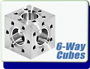 Conflat Flange (CF) 6-Way Cube, CF 1.33-2.75 inches, 1 1/3-2 3/4 inch, Stainless Steel