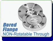 Bored Conflat Flange, CF 1-1/3 inch, Bored 3/8 in, Through Holes, Non-Rotatable, 1.33 inch CF-F, SS