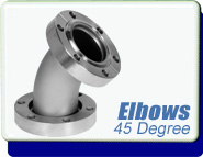 Conflat Flange (CF) Elbow 45 Degrees, CFF 1-1/3 - 6 inches Stainless Steel Fittings