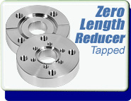 Conflat Flange (CF) Zero Length Reducer, CF 2-1/8 to 2-3/4 inch tapped hole to CF 1-1/3 - 3.375 inch tapped hole, SS