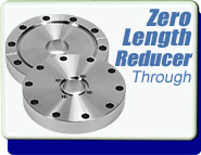 Conflat Flange (CF) Zero Length Reducer, CF 2-3/4 to 10 inches through hole to 1-1/3 to 8 inches tapped hole, SS