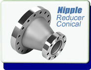 Conflat Flange (CFF) Reducing Nipple CONICAL, CFF 3-3/8 inches to 2-1/8 inches Stainless Steel