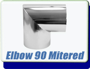 Buttweld 90 Degree Mitered Elbow Weld-On 0.75 to 6 Inches OD Tube Vacuum Fittings Tumbled Unpolished
