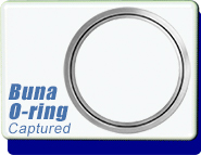 ASA 2 in. Flat Flange Captured O-Ring Gasket, for Non Grooved Smooth Surface, BUNA Gasket