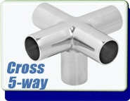 Buttweld 5-Way Cross Weld-On 0.75 up to 6 Inches OD Tube Vacuum Fittings