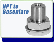 Brand New Baseplate Fitting to 1/8 in Female NPT Transition Feedthrough with Viton� O-ring, Aluminum or Stainless Steel