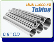 Stainless Steel Vacuum Tubing, 0.5 in. OD x 0.065, Polished, KF16 CF1-1/3, Sold Per Ft