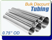 Stainless Steel Vacuum Tubing, 0.75 in. OD x 0.065, Polished, KF16 CF1-1/3, Sold Per Ft