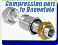 1 Inch Baseplate to 1 Inch Compression Port Fitting Adapter, Aluminium or Stainless Steel Feedthrough
