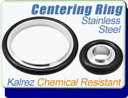 Kalrez Chemical Resistant Centering Ring, KF-16, KF-25, KF-40, KF-50 Vacuum Fittings, ISO-KF Flange Size NW-16, NW-25, NW-40, NW-50 Stainless Steel