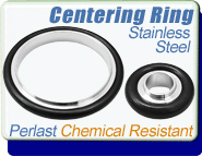 Perlast Chemical Resistant Centering Ring, KF-16, KF-25, KF-40, KF-50 Vacuum Fittings, ISO-KF Flange Size NW-16, NW-25, NW-40, NW-50 Stainless Steel