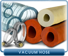 Vacuum Hose - Foreline Vacuum Hose, Pure Gum Rubber, Steel Spring Supported PVC Hose, and Hose Clamps