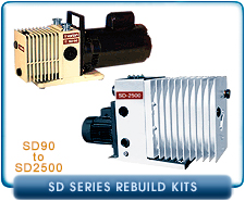 Varian SD Series Rotary Vane Vacuum Pump Rebuild and Repair Gasket Kits
