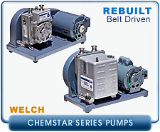 rebuilt welch 1400n chemstar vacuum pump for pumping corrosive gases, 115VAC, refurbished