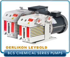 Oerlikon Leybold D16BCS to D65BCS TriVac PFPE Chemical Series Vacuum Pumps, 9.7 cfm, single or 3-Phase.