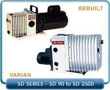 Varian SD-90 to SD-2500 Series Rebuilt Rotary Vane Vacuum Pumps