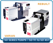 Varian SD-91 to SD-451 Series Rebuilt Rotary Vane Vacuum Pumps