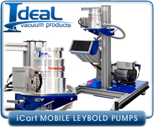 IVP iCart Mobile High-Vacuum System w/ Leybold TurboVac SL 300 turbo pump, CF 6 in Inlet, Roughing Pump