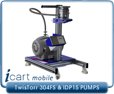 IVP iCart Mobile High-Vacuum System w/ Agilent TwisTorr 304FS Turbo, ISO100, ISO160, CF6, CF 8 Inlet, IDP15 Roughing Pump