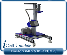 IVP iCart Mobile High-Vacuum System, w/Agilent V84FS Turbo, KF40, ISO63, CF 2.75, CF 4.5 inlet, IDP3 Roughing Pump