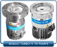 Varian Turbo-V 70, V 70D Turbo Molecular High Vacuum Pump Rebuilt, ISO-63, 65 l/s, CF 4.5 70 l/s pumping speed
