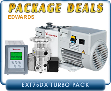 Edwards EXT75DX Turbo Pump, ISO63, ISO100, CF 4.5, KF40 Inlet, TIC Controller 100W, Instrument, NO Gauge Control, RV3, RV5