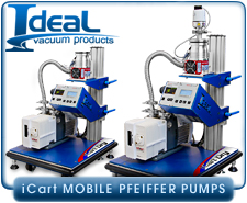 IVP iCart Mobile Corrosive High-Vacuum System, Adixen SD 2005/2010/2015/2021 or MDP 5011 and 5011CP Drag Pump, ISO63, & 2005C1 Wet