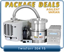 Agilent Varian TwisTorr 304 FS Turbo System, CF6 or ISO-100 Inlet & 24V DC Controller, OEM, Basic Package Deal, IDP3, SH110, DS102, DS202