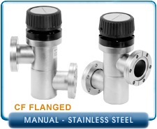 Agilent Varian Inline 2.75in CF Hand Operated Valve, 1-1/2 Inch Tubing, Stainless Steel