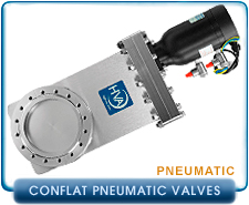 Conflat Pneumatic Gate Valves By HVA, High Vacuum Valves pnematic vacuum gate valves, Conflat