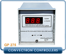 Granville Phillips 275 Analog Convectron Gauge Controller without Setpoint Relays, or 1 set point, 2 set pint process control